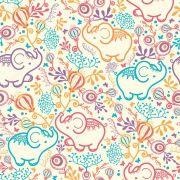 Papel De Parede Adesivo Elefante com Flores