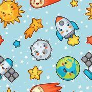 Papel De Parede Adesivo Espaço Foguete mod01