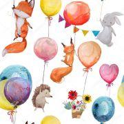 Papel De Parede Adesivo Animais Balões mod01