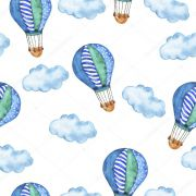 Papel De Parede Adesivo Menino Nuvens Balões