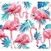 Papel De Parede Adesivo Tropical Flamingos mod01