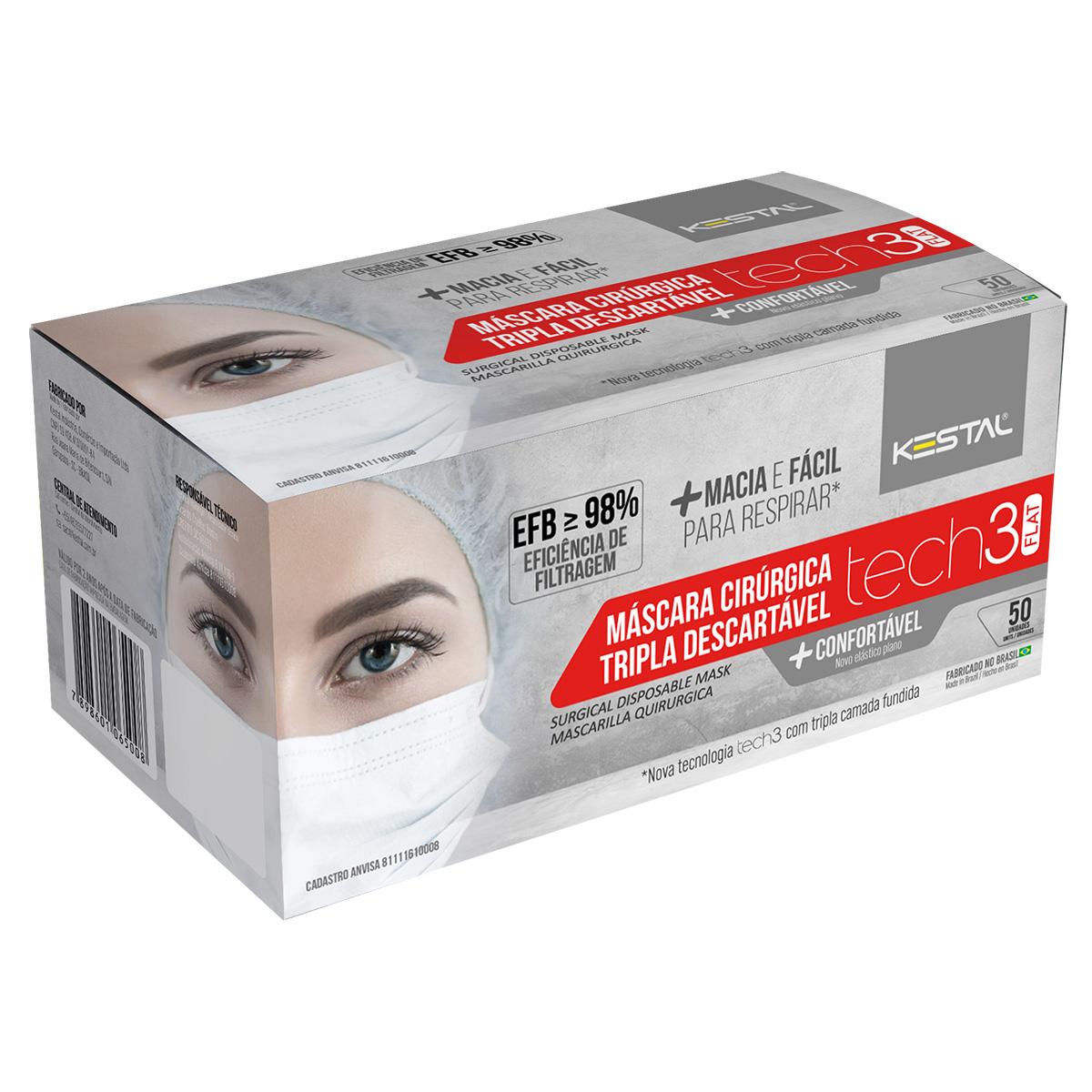 Mascara Cirurgica Tripla CX Com 50 unidades Kestal