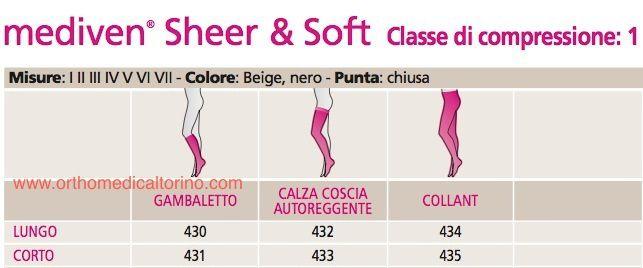 Meia Medi 15-20 MMHG 7/8  Mediven Sheer Soft Preta Ponteira Fechada