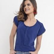 Blusa amamentação detalhe em guipir azul
