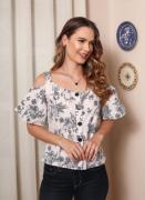 Blusa amamentação em tricoline floral e listras creme