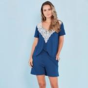 Pijama amamentação manga curta Marinho