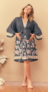 Robe kimono curto cetim estampa algodão preto