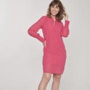 Vestido amamentação manga longa chiffon rosa