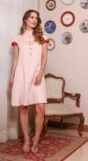 Vestido amamentação viscose e tricot rosê