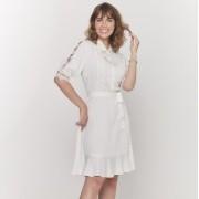 Vestido amamentação viscose off white com renda