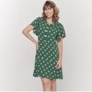 Vestido amamentação viscose verde com poá nude
