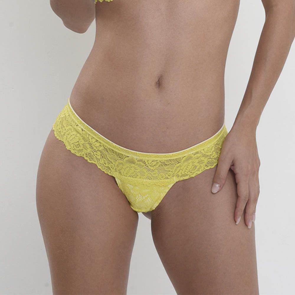 Calcinha boneca renda amarela