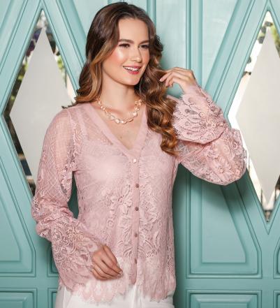 Camisa em renda chantilly com regata para amamentação rosê