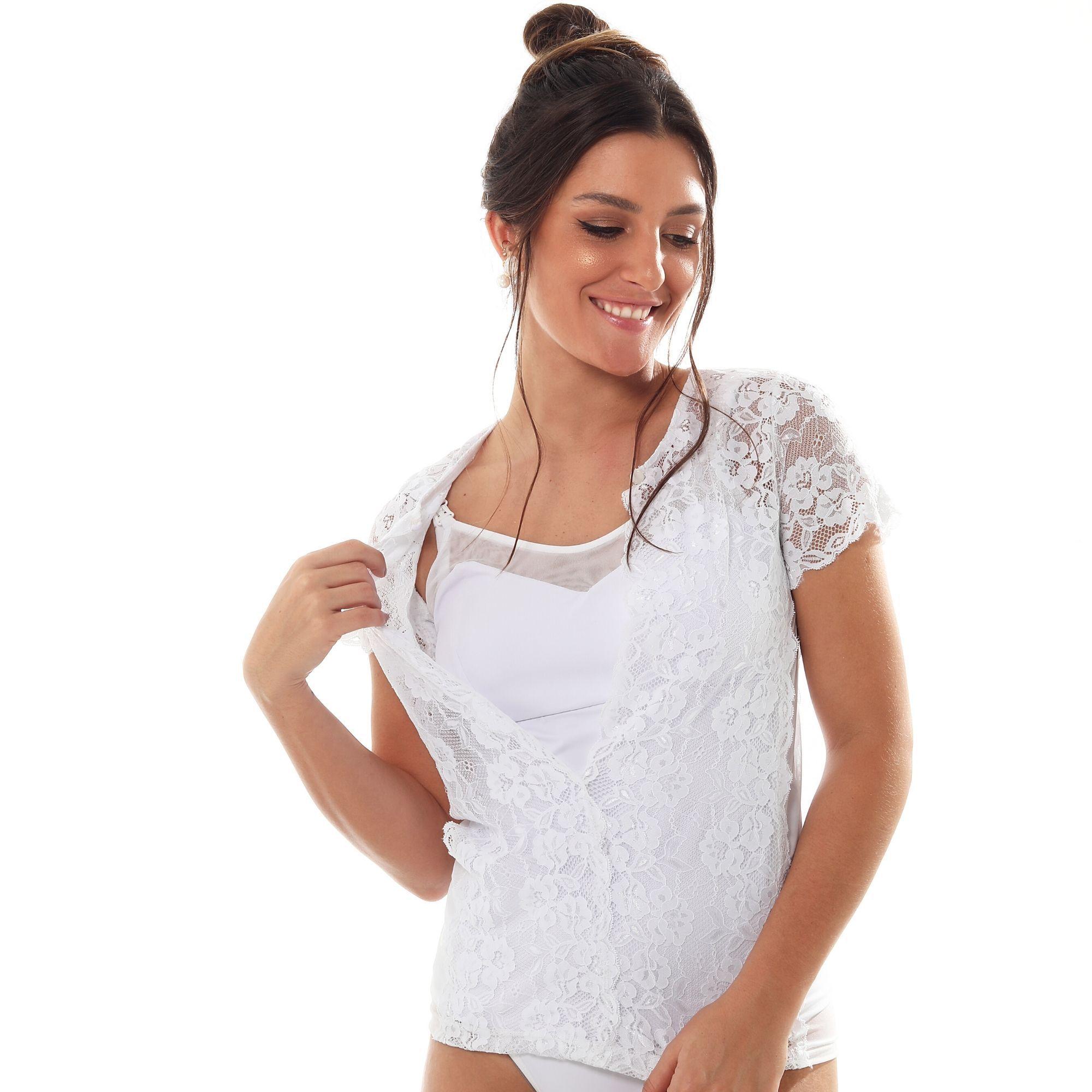 Camisete amamentação em microfibra e tule com sobreposição de blusa em renda branca