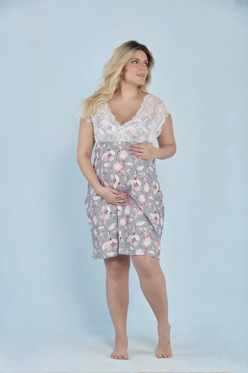 Camisola amamentação curta estampa floral cinza
