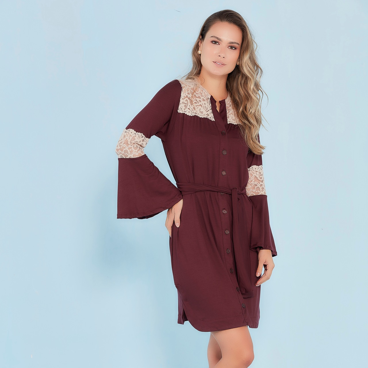 Camisola chemise viscolycra e renda vinho