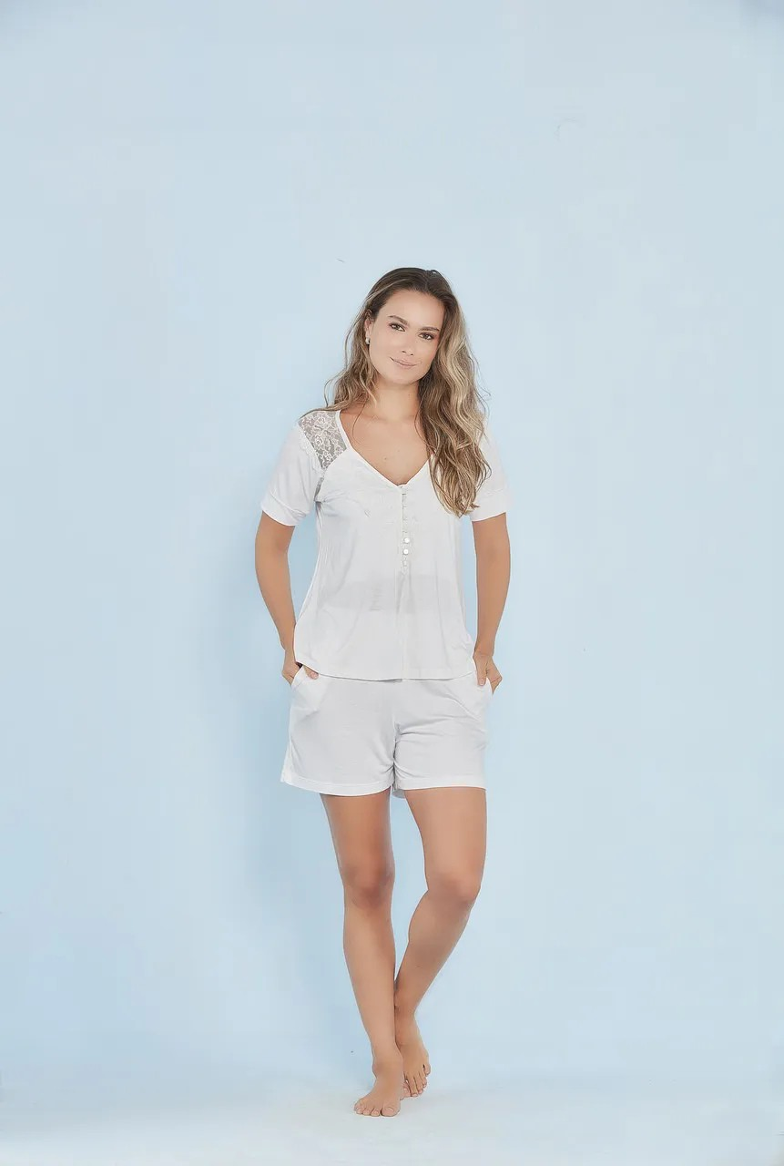 Pijama amamentação manga curta Off White
