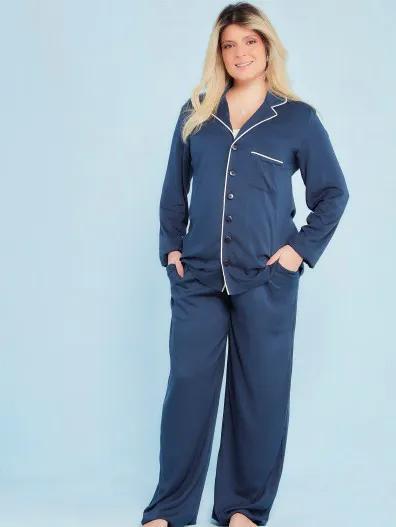 Pijama amamentação viscose marinho