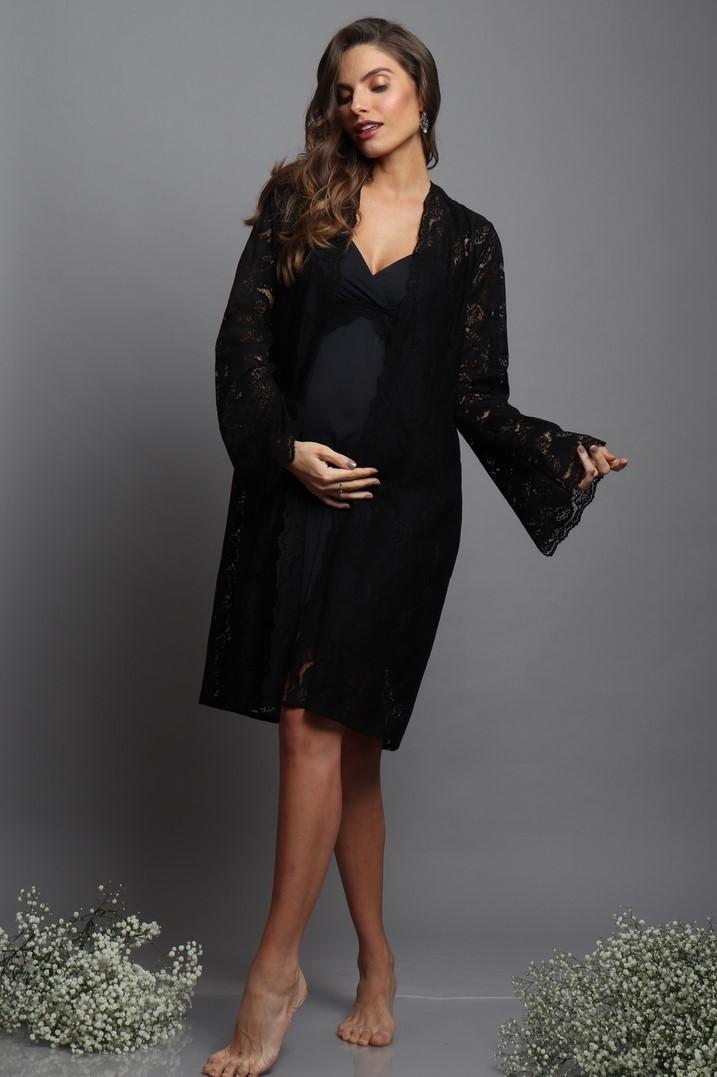 Robe curto em rendão preto