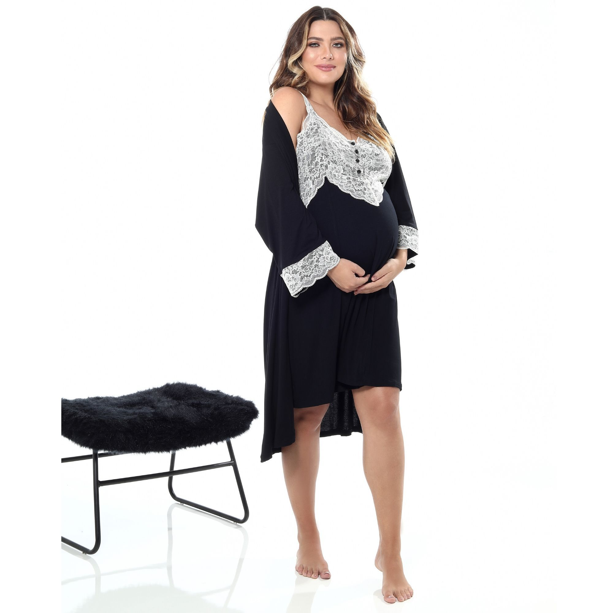 Robe curto viscolycra e renda preto