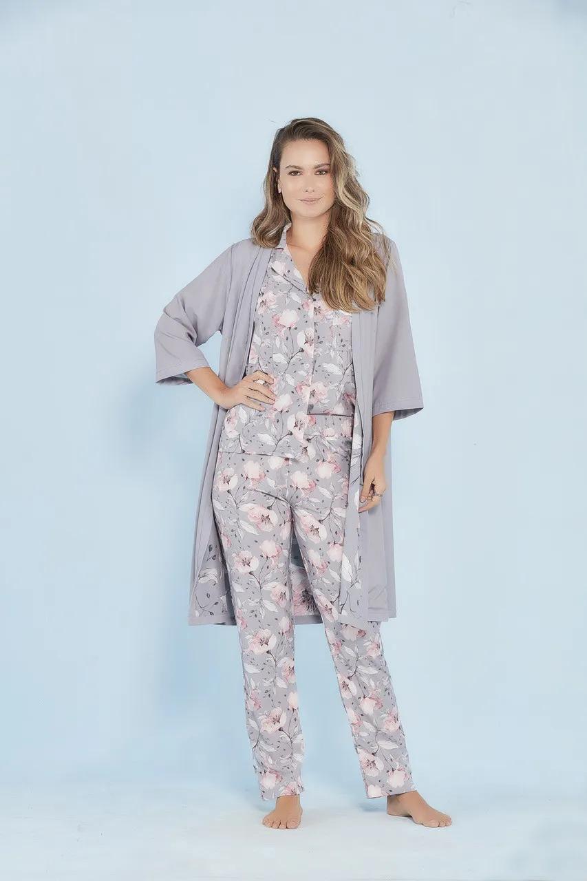 Robe duplo estampa floral cinza