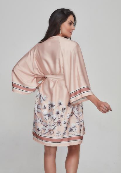 Robe kimono curto cetim estampa algodão rosê