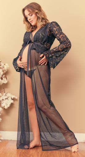 Robe longo tule e renda guipir preto