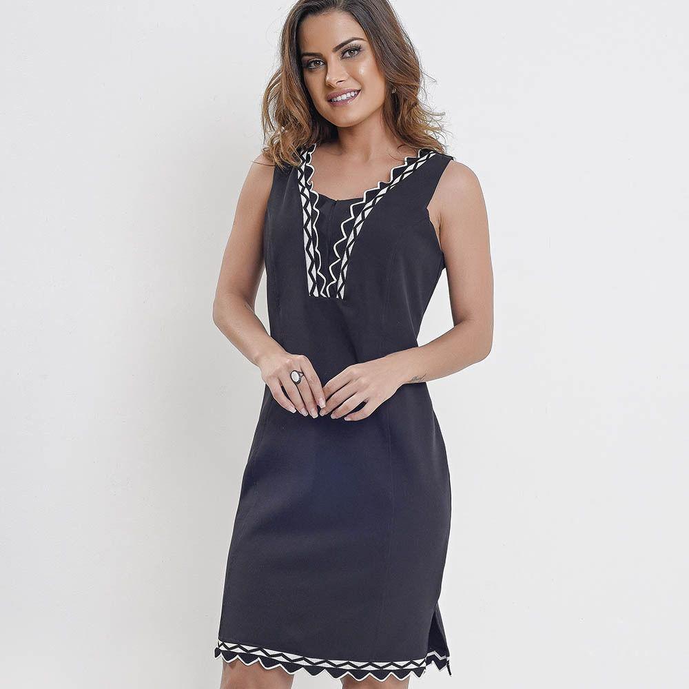 069319ff8 Vestido amamentação alfaiataria preto com detalhes bordado