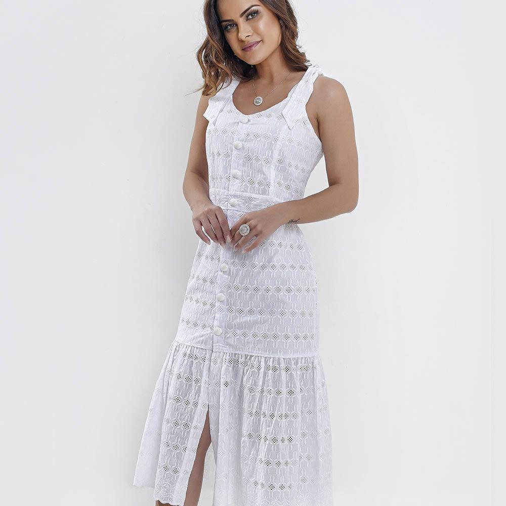 Vestido Amamentação Em Laise Branco Midi
