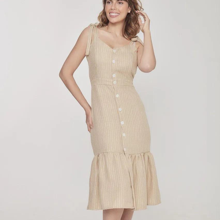 Vestido amamentação em linho midi