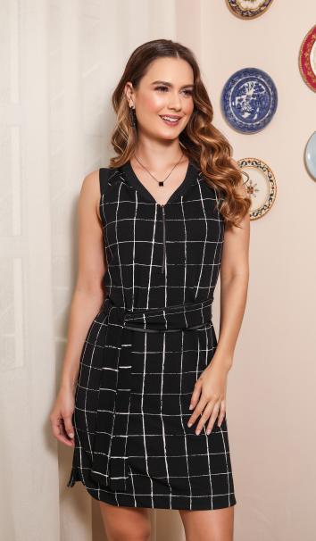 Vestido amamentação em malha jacquard xadrez