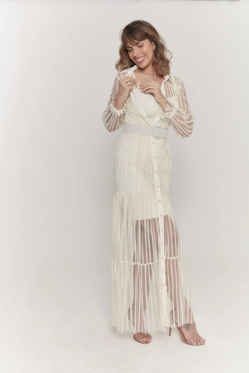 Vestido amamentação longo tule pérola