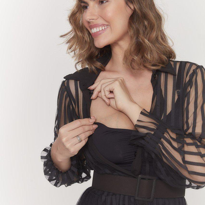 Vestido amamentação longo tule preto