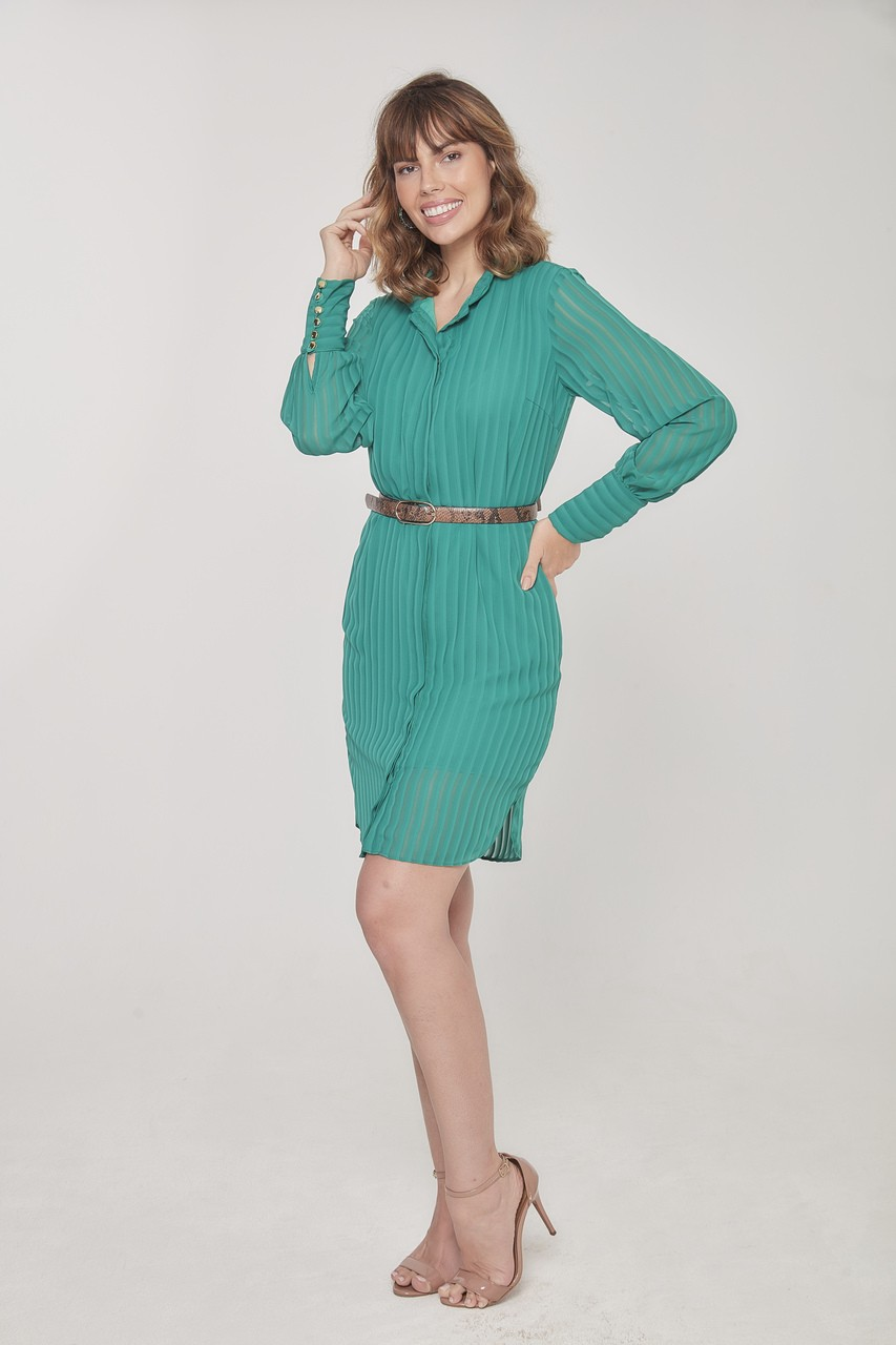 Vestido amamentação manga longa chiffon verde