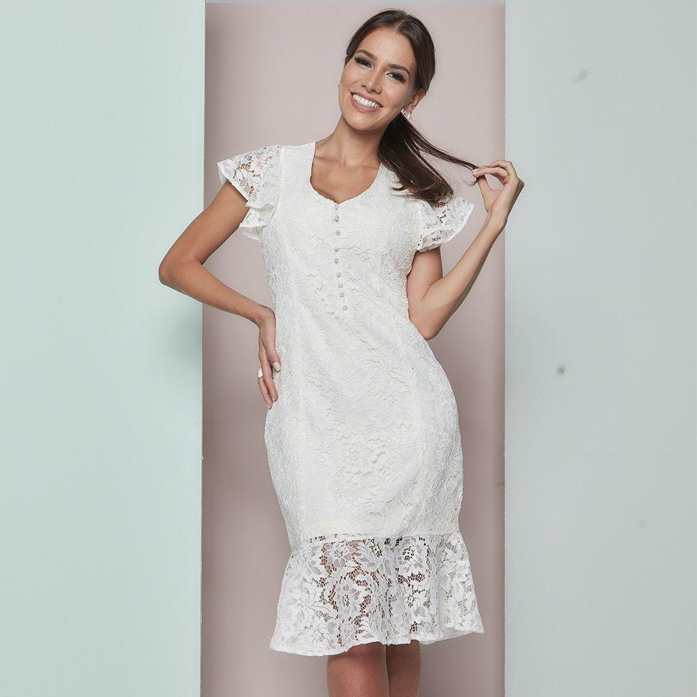 1ad3412f9 Vestido amamentação renda off white