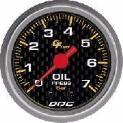 Manômetro Odg Carbon Pressão De Óleo Oil 7 Bar 52 Mm