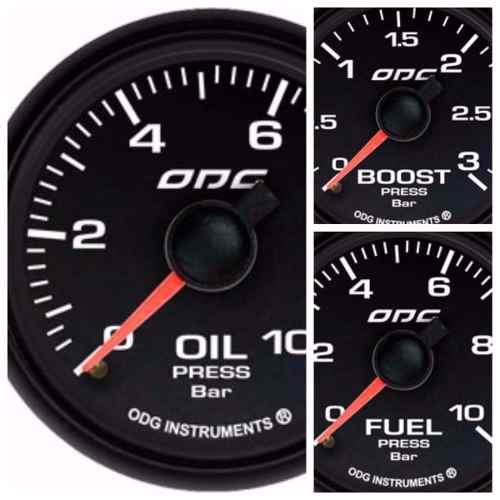 Trio Kit 3 Manômetros Odg Dakar Full Color Combustível Óleo Turbo
