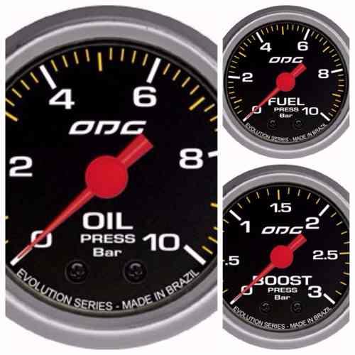 Trio Kit 3 Manômetros Odg Evolution Combustivel, Óleo E Turbo