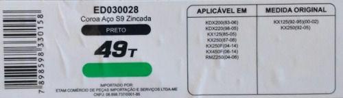 Coroa Edgers Kawasaki Kx125/250 Kdx250/450 Rmz250 49 Dentes