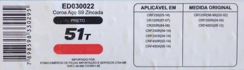 Coroa Honda Crf Cr 125 230 250 450 Edgers 51d Motocross