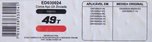 Coroa Honda Crf 230 250r 250x 450r Cr125r 125x Edgers 49d