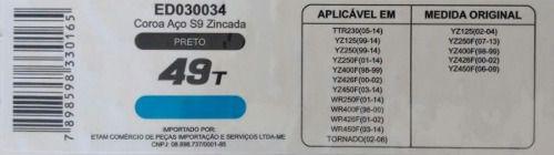 Coroa Edgers Yamaha Ttr Yz Wr Honda Xr 250 Tornado 49 Dent