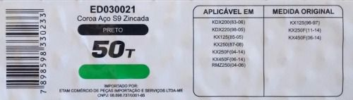 Coroa Edgers Kawasaki Kx125/250 Kdx250/450 Rmz250 50 Dentes