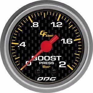 Manômetro Odg Carbon Boost 2 Bar 52 Mm Pressão De Turbo