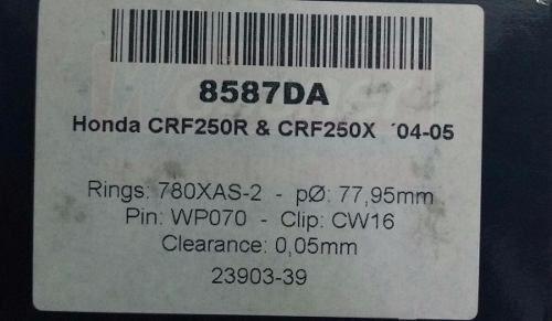 Kit Pistão Forjado Wossner Honda Crf 250 R X 2004 Até 2007