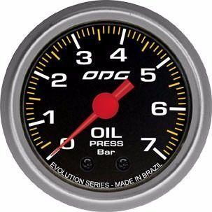 Manômetro Odg Evolution Pressão De Óleo Oil 7 Bar 52 Mm