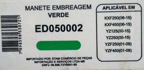 Manete Embreagem Kxf 250/450 / Yzf 250/450 Yz125/250 Edgers