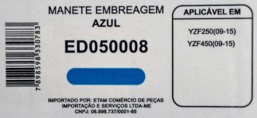 Manete Embreagem Yamaha Yzf250 Yzf450 09-15 Azul Edgers