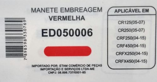 Manete Embreagem Cr125/250 Crf250/450 Crfx250/450 Edgers