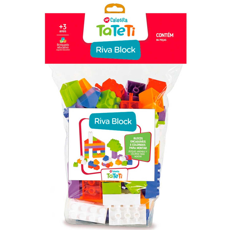 BLOCOS INFANTIL RIVA BLOCK CONTÉM 84 PEÇAS TATETI REF:004 3 ANOS +
